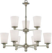 "Cimmaron Satin Nickel Chandelier White Glass 28""Wx30""H"