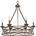 "Lakewood Vintage Gold Iron Drum Pendant Light 27""Wx26""H"