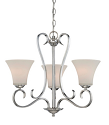 "Fair Lane Chrome Chandelier Etched White Glass 22""W19""H"