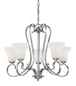 "Fair Lane Chrome Chandelier Etched White Glass 27""W21""H"