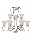 "Fair Lane Chrome Chandelier Etched White Glass 32""Wx30""H"