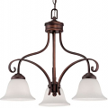 "Kingsport Rubbed Bronze Chandelier White Glass 23""Wx19""H"