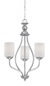 "Lansing Brushed Pewter Chandelier White Drum Glass 18""Wx26""H"