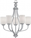 "Lansing Brushed Pewter Chandelier White Drum Glass 23""Wx28""H"