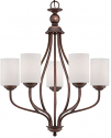 """Lansing Rubbed Bronze Chandelier White Drum Glass 23""""Wx28""""H"""