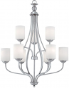 "Lansing Brushed Pewter Chandelier White Drum Glass 28""Wx38""H"