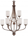 """Lansing Rubbed Bronze Chandelier White Drum Glass 28""""Wx38""""H"""