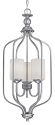 "Lansing Brushed Pewter Foyer Chandelier Drum Glass 13""Wx32""H"
