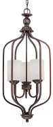 """Lansing Rubbed Bronze Foyer Chandelier Drum Glass 13""""Wx32""""H"""