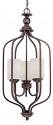 """Lansing Rubbed Bronze Chandelier Drum Glass 13""""Wx32""""H"""