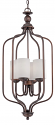 """Lansing Rubbed Bronze Foyer Chandelier Drum Glass 16""""Wx32""""H"""