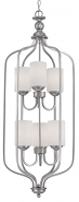 "Lansing Brushed Pewter Foyer Chandelier Drum Glass 16""Wx43""H"
