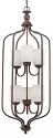 """Lansing Rubbed Bronze Foyer Chandelier Drum Glass 16""""Wx43""""H"""