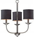 "Jackson Brushed Pewter Chandelier Black Drum Shades 21""Wx19""H"