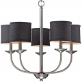 "Jackson Brushed Pewter Chandelier Black Drum Shades 25""Wx24""H"