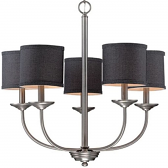 "Jackson Brushed Pewter Chandelier Dark Charcoal Drum Shades 25""Wx24""H"