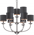 "Jackson Brushed Pewter Chandelier Black Drum Shades 29""Wx31""H"
