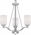 "Durham Satin Nickel Chandelier White Drum Glass 20""Wx23""H"