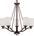 "Durham Rubbed Bronze Chandelier White Drum Glass 25""Wx26""H"