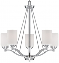 "Durham Satin Nickel Chandelier White Drum Glass 25""Wx26""H"