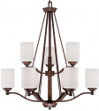 "Durham Rubbed Bronze Chandelier White Drum Glass 29""Wx33""H"