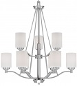 "Durham Satin Nickel Chandelier White Drum Glass 29""Wx33""H"