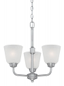"Franklin Brushed Pewter Chandelier Scavo Glass 18""Wx19""H"