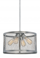"Akron Brushed Pewter Wire Mesh Drum Pendant Light 16""Wx48""H"