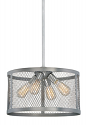 "Akron Brushed Pewter Chandelier Pendant Mesh Drum Shade 16""Wx48""H"