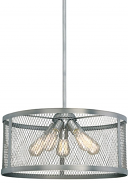 "Akron Brushed Pewter Wire Mesh Drum Pendant Light 20""Wx46""H"