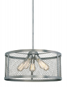 "Akron Brushed Pewter Chandelier Pendant Mesh Drum Shade 20""Wx46""H"