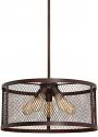 "Akron Dark Brushed Bronze Wire Mesh Drum Pendant Light 20""Wx46""H"