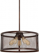 "Akron Brushed Bronze Wire Mesh Drum Pendant Light 20""Wx46""H"