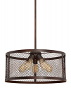 "Akron Dark Brushed Bronze Chandelier Pendant Mesh Drum Shade 20""Wx46""H"