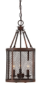 "Akron Brushed Bronze Wire Mesh Drum Foyer Light 10""Wx20""H"