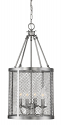"Akron Brushed Pewter Chandelier Pendant Mesh Drum Shade 12""Wx24""H"