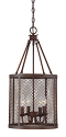 "Akron Dark Brushed Bronze Chandelier Pendant Mesh Drum Shade 12""Wx24""H"