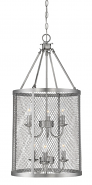 """Akron Brushed Pewter Wire Mesh Drum Foyer Light 15""""Wx32""""H"""