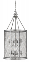 "Akron Brushed Pewter Chandelier Pendant Mesh Drum Shade 15""Wx32""H"