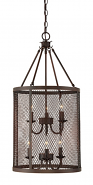 """Akron Brushed Bronze Wire Mesh Drum Foyer Light 15""""Wx32""""H"""
