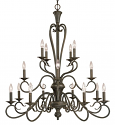 "Devonshire Burnished Gold Candlestick Chandelier 36""Wx41""H"