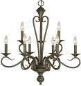 "Devonshire Burnished Gold Candlestick Chandelier 25""Wx27""H"