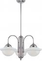 "Neo Industrial Chrome School House island light Opal Glass 26""Wx53""H"