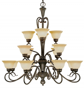 "Devonshire Burnished Gold Chandelier Florentine Glass 40""Wx41""H"
