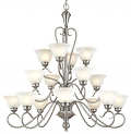"Devonshire Satin Nickel Chandelier Alabaster Glass 40""Wx41""H"