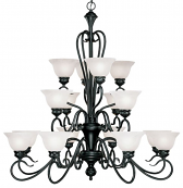 "Devonshire Matte Black Chandelier Alabaster Glass 40""Wx41""H"