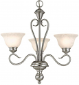 "Devonshire Satin Nickel Chandelier Alabaster Glass 23""Wx24""H"