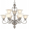 "Devonshire Satin Nickel Chandelier Alabaster Glass 29""Wx28""H"