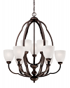 "Camilla Rubbed Bronze Chandelier Scavo Glass 29""Wx33""H"
