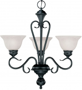 "Devonshire Matte Black Chandelier Alabaster Glass 23""Wx24""H"